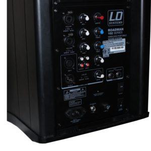 Akku-Lautsprechersystem Detailansicht der Anschlüsse von Akku Lautsprecher