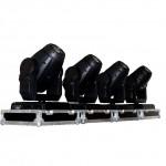 vier kopfbewegte Scheinwerfer Movingheads in Case mieten
