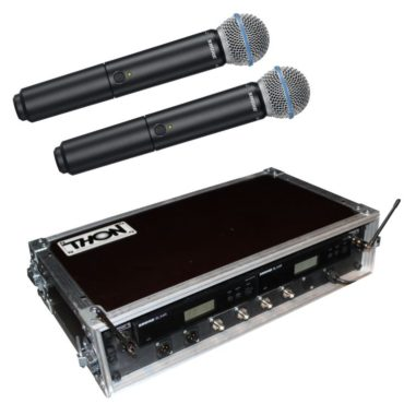 Funkmikrofon Shure Beta 58 mit Antennensplitter Komplettansicht