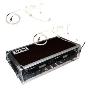 Frontansicht von Headset Funkmikrofon Shure Beta 54 Doppelcase mit Antennensplitter