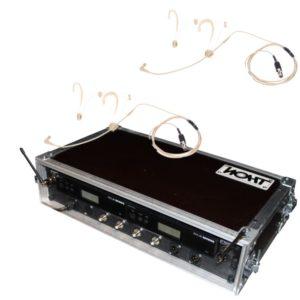 Seitliche Ansicht von Headset Funkmikrofon Shure Beta 54 Doppelcase mit Antennensplitter Eventtechnik