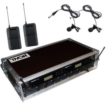 Ansteckmikrofon Funk Shure WL184 BLX Doppelcase Schräg