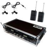 Ansteckmikrofon Funk Shure WL184 BLX Doppelcase mit Antennensplitter schräg