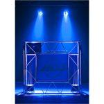 DJ-Pult Traversen-look mit blauen Scheinwerfern