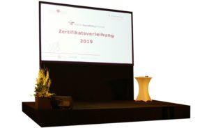 Konferenztechnik mit Projektionsleinwand und schwarzer Bühne gemietet als Veranstaltungstechnik