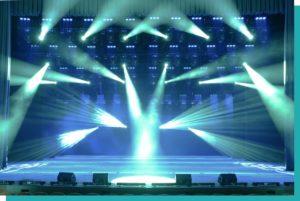 Veranstaltungstechnik mieten in Wien Bühne mit Lichttechnik